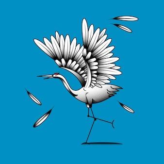 Elemento pássaro guindaste japonês de coroa vermelha em um fundo azul