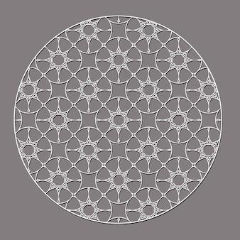 Elemento redondo decorativo árabe com estrelas