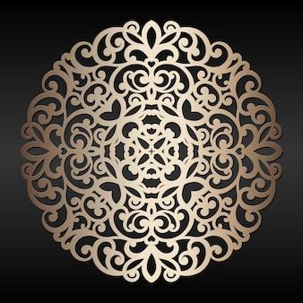 Elemento redondo dourado abstrato. mandala de corte a laser. oriental