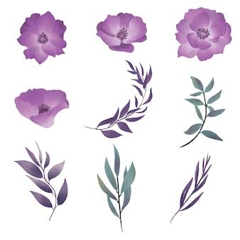 Elemento roxo flores e folhas em aquarela