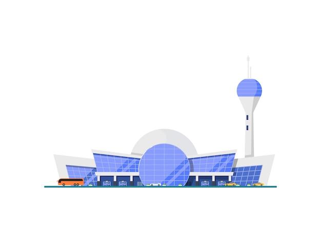 Elemento terminal moderno de aeroporto vítreo