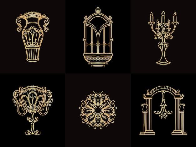 Elemento vintage desenhado a mão de ouro