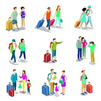 Elementos 3d isométricos de pessoas a viajar