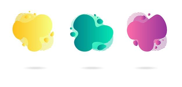 Elementos abstratos da faixa de gradiente dinâmico em estilo moderno. banners com formas fluidas de líquido.