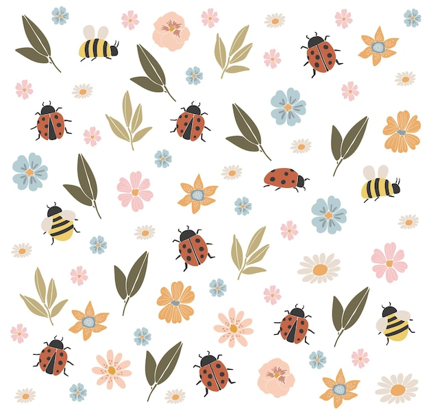 Elementos abstratos de flores de primavera, abelhas e joaninha boho primavera