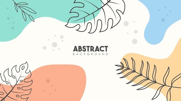Elementos abstratos de folhas tropicais fundo de pôster de flores