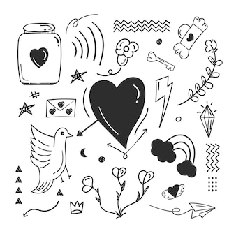 Elementos abstratos de rabisco de doodle com conceito de amor