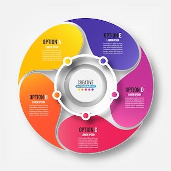 Elementos abstratos do modelo de gráfico infográfico com rótulo, círculos integrados. conceito de negócio com 5 opções. para conteúdo, diagrama, fluxograma, etapas, peças, infográficos de linha do tempo, layout de fluxo de trabalho,