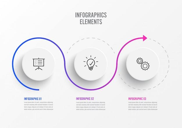 Elementos abstratos do modelo de infográfico gráfico com etiqueta, círculos integrados. conceito de negócio com 3 opções.