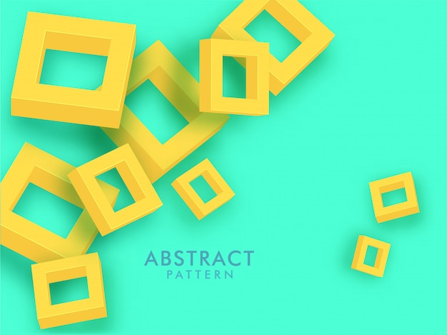 Elementos abstratos do quadrado 3d amarelo sobre fundo verde.