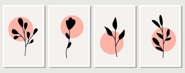 Elementos abstratos, elementos florais simples minimalistas. folhas e flores. coleção de cartazes de arte em cores pastel. design para redes sociais, cartões postais, estampas. contorno, linha, estilo do doodle.