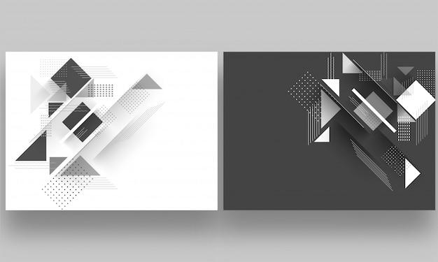 Elementos abstratos geométricos decorados modelo de design em dois col