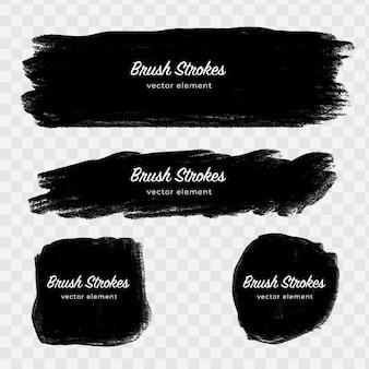 Elementos abstratos pretos na mão feita pinceladas