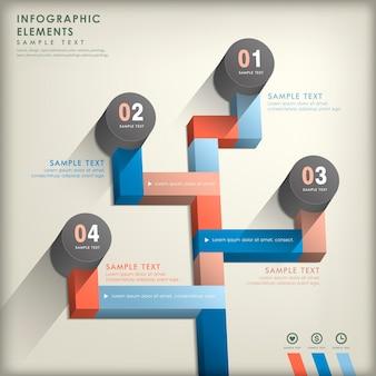 Elementos abstratos realistas do infográfico de papel 3d