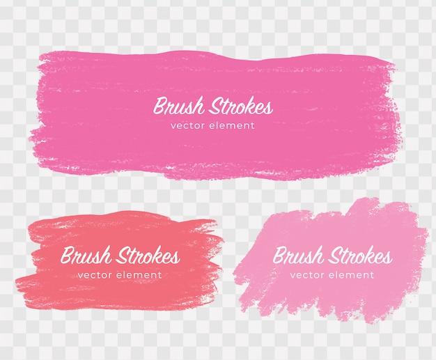 Elementos abstratos rosa na mão feita pinceladas