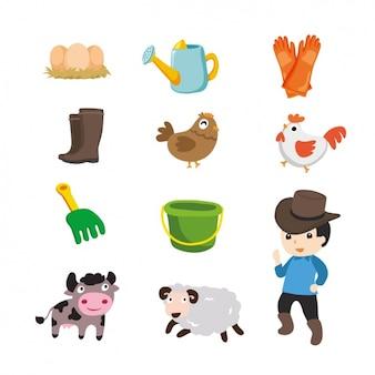 Elementos agrícolas coloridas