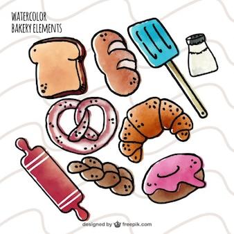 Elementos aguarela padaria desenhados mão