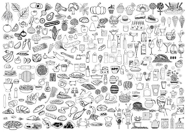 Elementos alimentares desenhados à mão