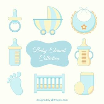 Elementos amarelos e azuis do bebê