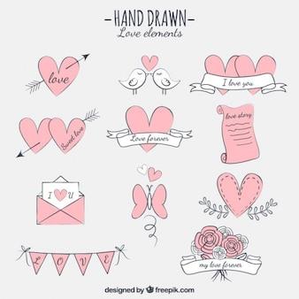 Elementos amor desenhados mão