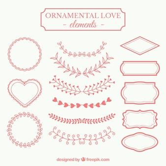 Elementos amor ornamentais em vermelho