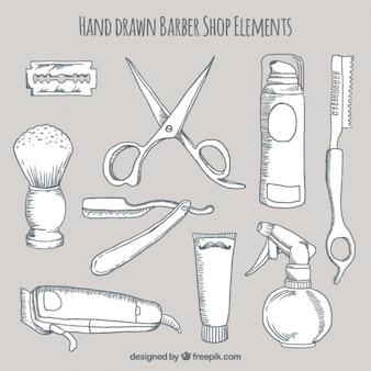 Elementos barbearia desenhada mão