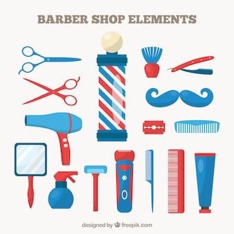 Elementos barbearia na cor azul e vermelho