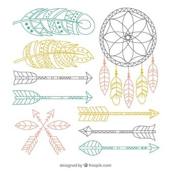 Elementos boho decorativas em cores pastel