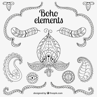 Elementos boho esboçado