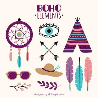 Elementos boho fantásticas em design plano