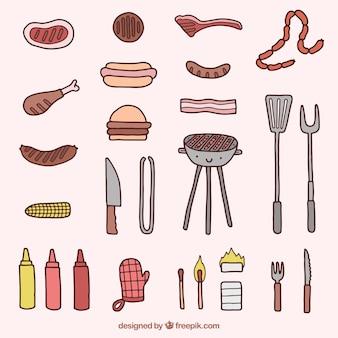 Elementos bonitos de churrasco