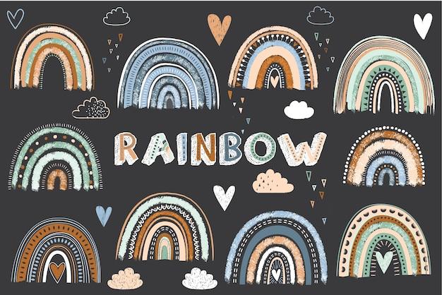 Elementos bonitos do arco-íris boho para quadro-negro