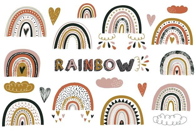 Elementos bonitos do arco-íris de boho para berçário