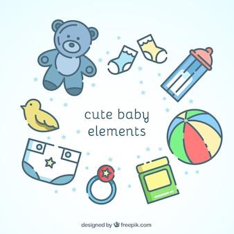Elementos bonitos do bebê no design plano