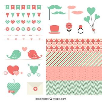 Elementos bonitos do dia dos namorados em cores vermelhas e verdes
