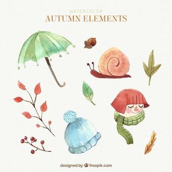 Elementos bonitos do outono com estilo aquarela