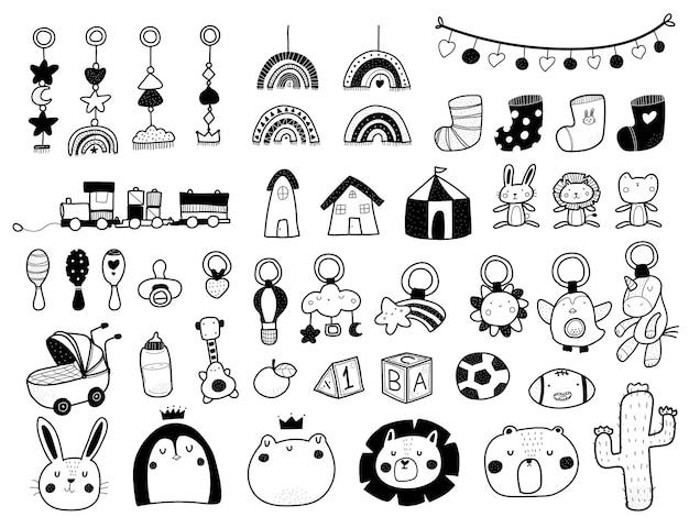 Elementos bonitos doodle do chuveiro de bebê estilo escandinavo