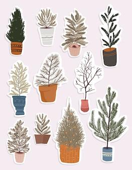 Elementos bonitos dos desenhos animados de natal, decoração de plantas de interior, design de adesivos