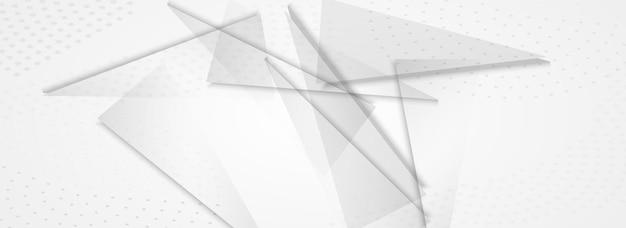 Elementos brancos mínimo vetor fundo cinza panorâmico. modelo dinâmico. certificado de geometria gráfica leve. decoração de tecnologia.