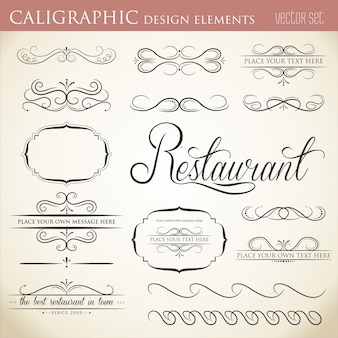 Elementos caligráficos do projeto para embelezar o seu layout
