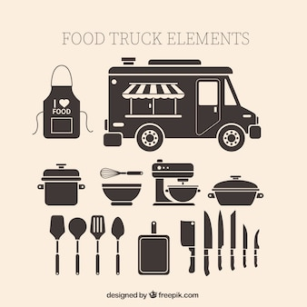 Elementos caminhão da comida do vintage