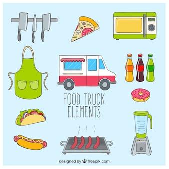 Elementos caminhão de alimentos