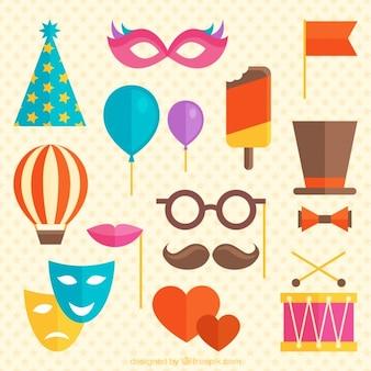 Elementos carnavalescos plana em estilo colorido