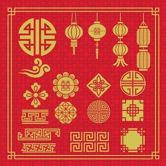 Elementos chineses embalar