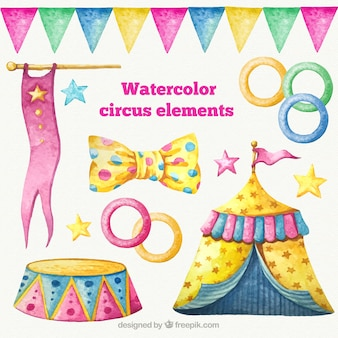 Elementos circenses watercolor