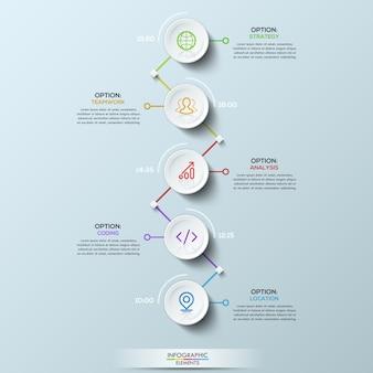 Elementos circulares brancos conectados com caixas de texto e indicação de tempo, layout de infográfico.