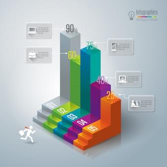 Elementos coloridos de gráfico de barras para a apresentação