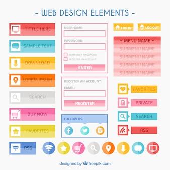 Elementos coloridos de web design