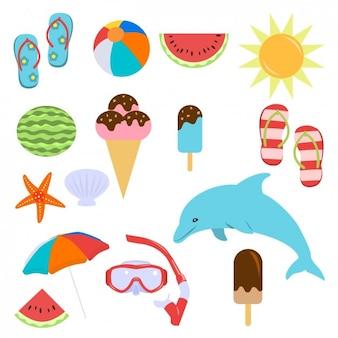 Elementos coloridos do verão