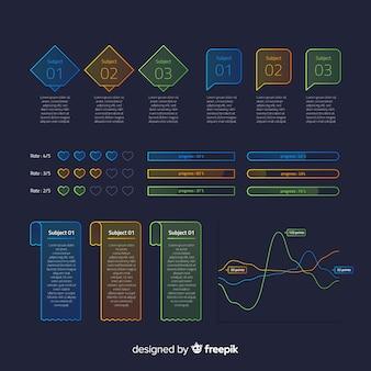 Elementos coloridos infográfico com efeito de gradiente